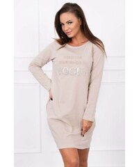 de850c55c69b MladaModa Šaty s nápisom Vogue béžové