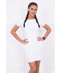 d9e57f624028 MladaModa Šaty s krátkym rukávom s nápisom VOGUE biele