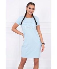 fc5735a230 MladaModa Šaty s krátkym rukávom s nápisom VOGUE modré