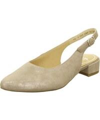 8e242459b2 Dámske uzatvorené sandále na nízkom podpätku značky Ara strieborná