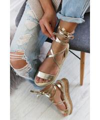 d8fe794ffaa4 Mulanka Zlaté platformové sandále Francisia