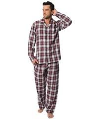 848c558eba67 Rössli Pánské flanelové pyžamo Sammy vínové káro