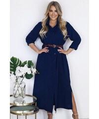690602c07725 ZAZZA Dlhé tmavo-modré košeľové šaty s hnedým opaskom
