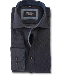 8e9d465d7293 STEVULA Čierna bodkovaná pánska košeľa so štruktúrou