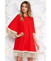 31880eef98 Piros StarShinerS elegáns bő szabású ruha rugalmatlan szövet rojtos 3/4-es  ujjakkal