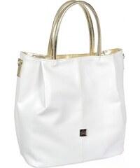 b23c7a5de4 Bielo-zlatá priestranná elegantná dámska kabelka S737 GROSSO