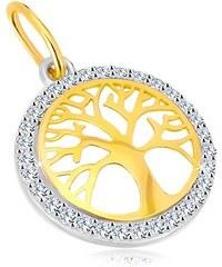 8f19a7523 Šperky eshop - Prívesok v kombinovanom 14K zlate - kruh so stromom života, ligotavé  zirkóny