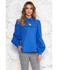a6d454fad6 StarShinerS Kék elegáns bő szabású női blúz fátyol anyag csipke ujj ...