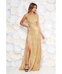 17e6c97292 StarShinerS Arany alkalmi rakott ruha enyhén rugalmas anyag fémes jelleg  belső béléssel egy vállas szabás