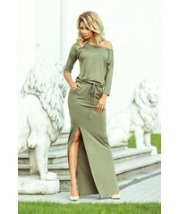351e255e1cbe Numoco Dámské denní šaty Numoco 127642 olivově zelené - zelená