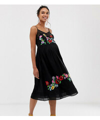 4121001fdccf ASOS Maternity ASOS DESIGN Maternity cami trapeze embroidered midi dress -  Black