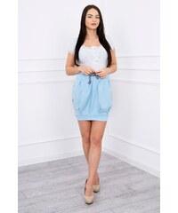 f27347a65f30 MladaModa Komplet nohavice + top s volánmi modrý. Veľkosť len Univerzálna.  Detail produktu. MladaModa Balónová sukňa s patentami modrá