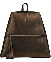 2762136274 Elegantný dámsky luxusný kožený batoh zlatohnedý Wojewodzic 31783