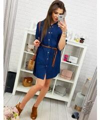 a66ebe89aff0 BASIC Tmavo modré denimové šaty s golierom (ey0531)