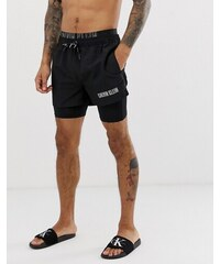 0454cb3792 Calvin Klein Intense Power double waistband swim shorts with jammer in  black - Black
