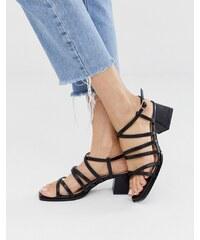 783927cb8f RAID Fabrizia black strappy mid heeled square toe sandals - Black pu