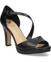af43d01e18 Insolia Kožené čierne sandále s asymetrickým remienkom
