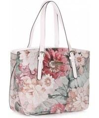 01c350f58a Dámská kabelka kožená kufřík VIttoria Gotti vzor v květech Multicolor Bílá