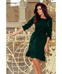 00c5516306e5 numoco Tmavě zelené dámské šaty s volánky a páskem MAYA 193-9