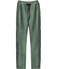 d00220895ffb MADE IN ITALY Zelené bavlněné kalhoty s flitrovými lampasy (210ART)