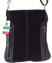 fe6b065fdf Genuine Leather Kožené kabelky listonošky přírodní semiš černá