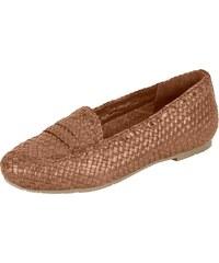 346b242da14c XYXYX Nazúvacie topánky s vypletaným vzhľadom koňaková