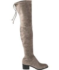 08383a616c8a heine Čižmy nad kolená z jemného mikrovlákna sivá