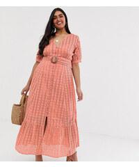 3b8ee175aa8c ASOS Curve ASOS DESIGN Curve broderie pephem maxi dress with wooden belt -  Blush pink