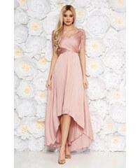 36b526734 StarShinerS Rózsaszínű Artista alkalmi aszimetrikus ruha vékony anyag belső  béléssel flitteres díszítés