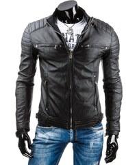 b5e84cb2a7af Dstreet Čierna kožená pánska bunda