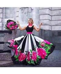 364b5ac8135a ITALIAN STYLE Čierno-biele dlhé šaty s kvetovanou potlačou