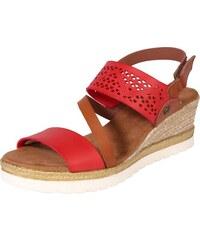 6f265cf9ea95 MUSTANG Páskové sandály hnědá   červená