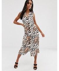 64a3bcfc490f ASOS DESIGN sleeveless button through midi shirt dress in animal print -  Zebra print