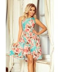 afc2edc53ee6 Numoco dámské šaty s květy 251-1 tyrkysové
