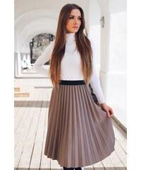 a02b74f5ff19 ZAZZA Plisovaná sukňa v hnedo-sivej farbe