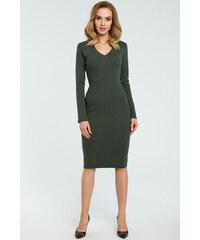 ee510035a132 Perfect Pouzdrové šaty z pružného bavlněného materiálu výstřih do V