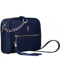 636d8375ac444 Wojewodzic malá kožená kabelka crossbody s retiazkou modrá 317