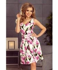 8cfbf7ab13d5 Šaty so skladanou sukňou Rossella - biele s kvetmi 160-4-Woman