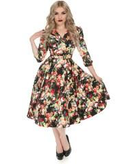 0f6b42a34fa6 Dedoles Retro pin up šaty s rukávem Letní louka S