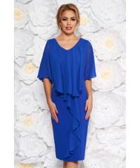 1ee2189faf StarShinerS Kék alkalmi midi ruha ujjatlan karcsusított szabással enyhén  rugalmas szövetből fátyol anyagátfedéssel