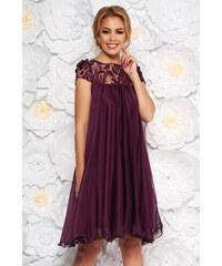 f6636ea476 StarShinerS Lila Artista alkalmi bő szabású ruha fátyol anyag hímzett és  flitteres díszítés
