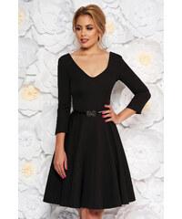 e9eb4078b5 Fekete StarShinerS ruha elegáns harang enyhén rugalmas szövet öv típusú  kiegészítővel