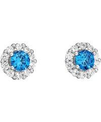 3e0869dd87 Šperky pro tebe Stříbrné náušnice Růže s modrým zirkonem