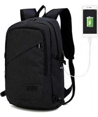 53edfa7b9a Lulu Bags Černý moderní batoh s USB portem Acxa