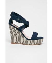 c291082440e6 Krémovo-modré pruhované sandále na klinovom podpätku Pepe Jeans ...