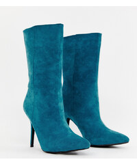 c6b489889daf PrettyLittleThing faux suede high heeled ankle boot in teal - Teal