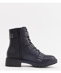 59d4c8efca22 PrettyLittleThing biker boot with stud detail in black - Black