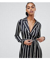 72d865faae8d Boohoo satin stripe tuxedo dress in mono stripe - Multi