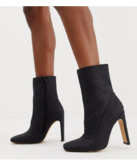 227a803d67 Missguided square toe faux suede ankle boot in black snake - Black