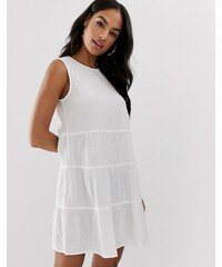 e42c860489 ASOS DESIGN sleeveless tiered mini smock dress in seersucker - White